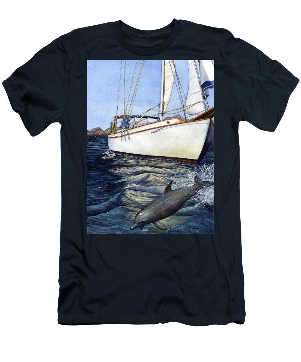Sailing Men's T-Shirt (Athletic Fit) featuring the painting Brief Encounter by Catherine G McElroy