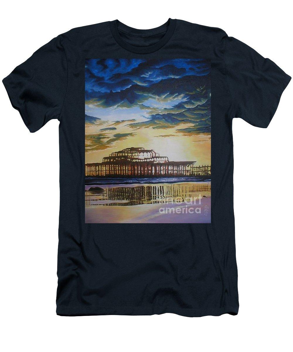 Brighton West Pier Derelict Victorian Sad Beach Sand Sunset Men's T-Shirt (Athletic Fit) featuring the painting Brighton West Pier by Pauline Sharp