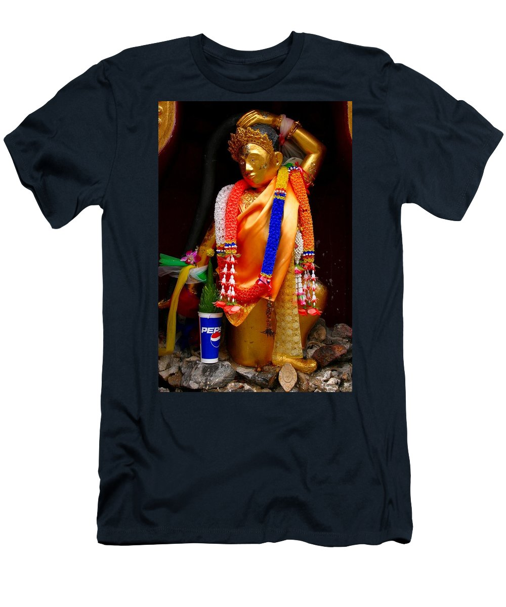 Buddism Men's T-Shirt (Athletic Fit) featuring the photograph Buddism And Pepsi Shrine by Minaz Jantz