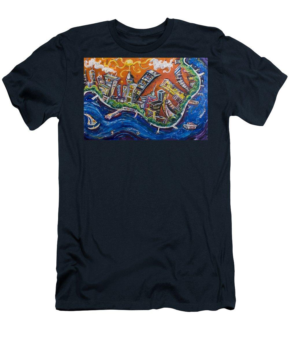 New York City Manhattan Hudson River Men's T-Shirt (Athletic Fit) featuring the painting Burning City by Jason Gluskin