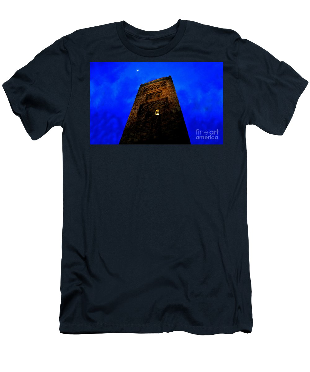Castle T-Shirt featuring the painting Burning the midnight oil by David Lee Thompson