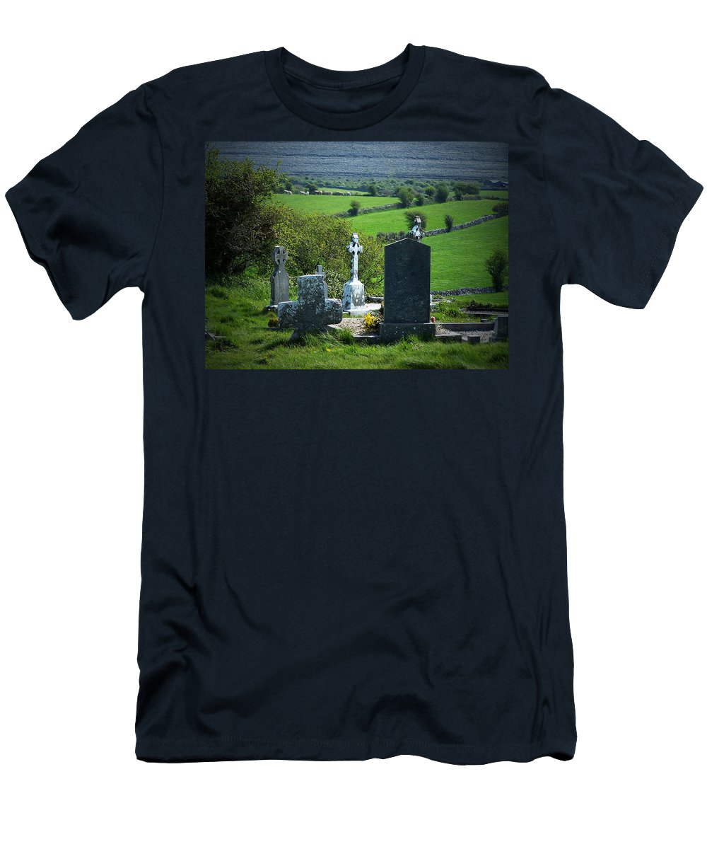 Irish Men's T-Shirt (Athletic Fit) featuring the photograph Burren Crosses County Clare Ireland by Teresa Mucha