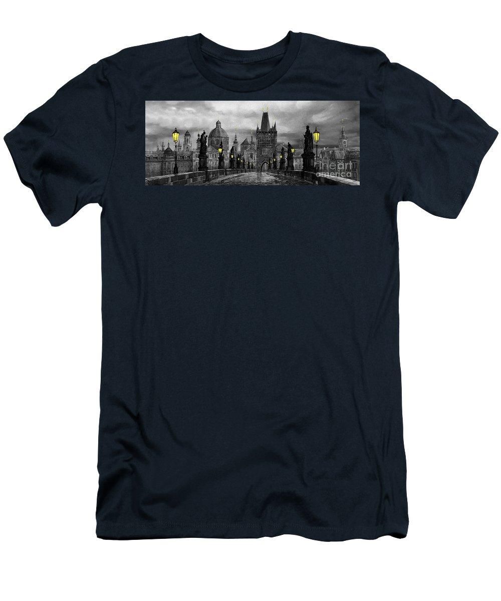 Prague Men's T-Shirt (Athletic Fit) featuring the painting Bw Prague Charles Bridge 04 by Yuriy Shevchuk