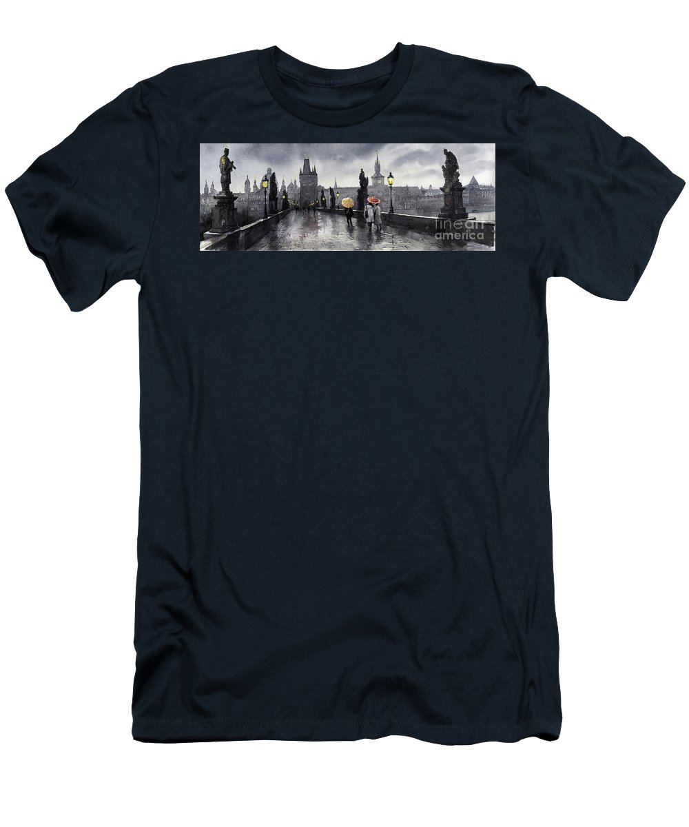Prague Men's T-Shirt (Athletic Fit) featuring the painting Bw Prague Charles Bridge 05 by Yuriy Shevchuk