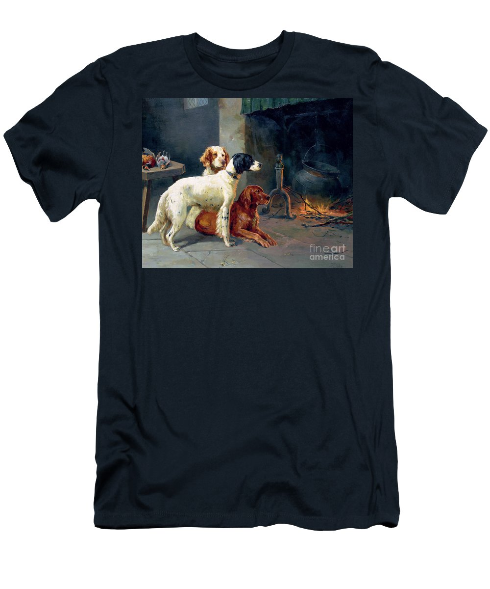 Dogs; Pheasants; Gundogs; Hearth; Cooking Pot; Irons; Irish Red Setter; English Setter; Working Dog Men's T-Shirt (Athletic Fit) featuring the painting By The Fire by Alfred Duke