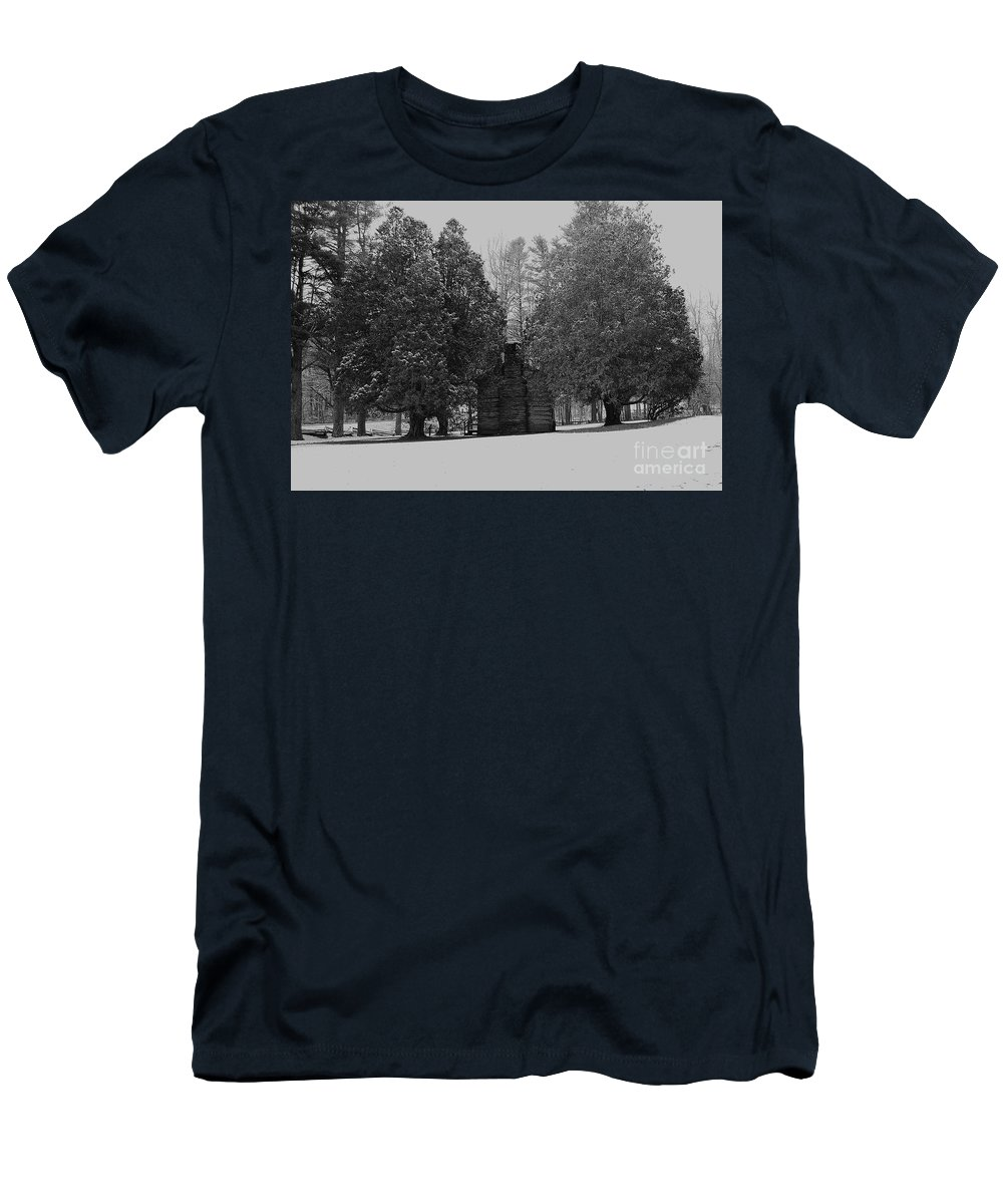 Snow T-Shirt featuring the photograph Cabin Between The Cedars by Eric Liller