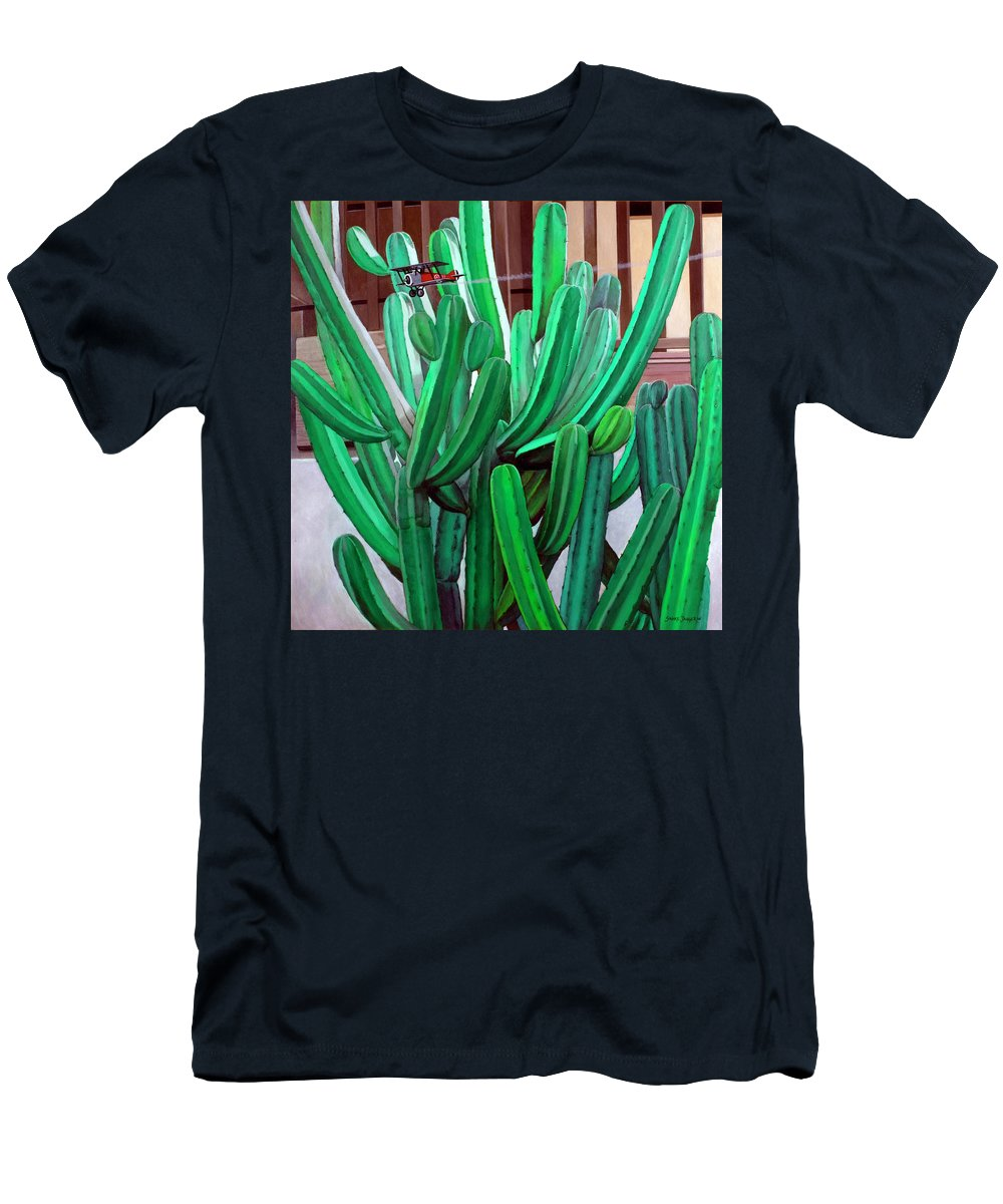 Landscape Men's T-Shirt (Athletic Fit) featuring the painting Cactus Fly By by Snake Jagger