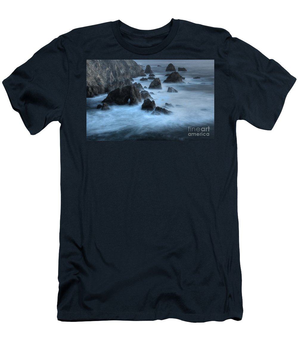 Sunset Men's T-Shirt (Athletic Fit) featuring the photograph California Rocky Coastline by Bob Christopher