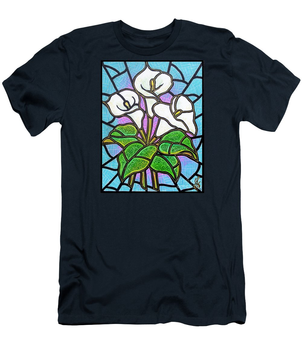 Flowers Men's T-Shirt (Athletic Fit) featuring the painting Calla Lilies 3 by Jim Harris