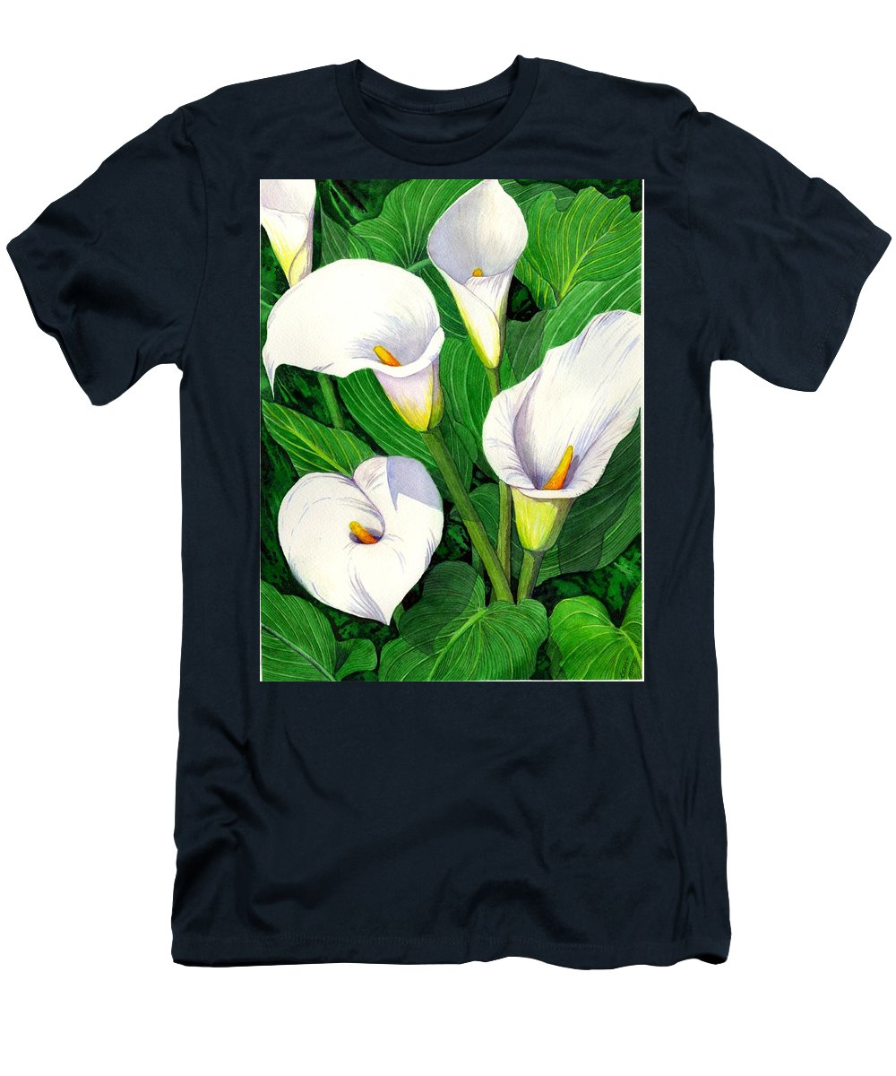 Lily Men's T-Shirt (Athletic Fit) featuring the painting Calla Lilies by Catherine G McElroy