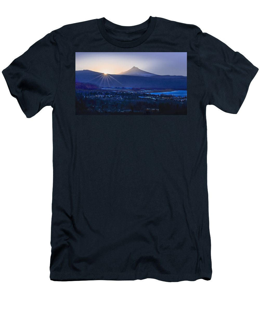 Sunrise Men's T-Shirt (Athletic Fit) featuring the photograph Camas Sunrise by John Christopher