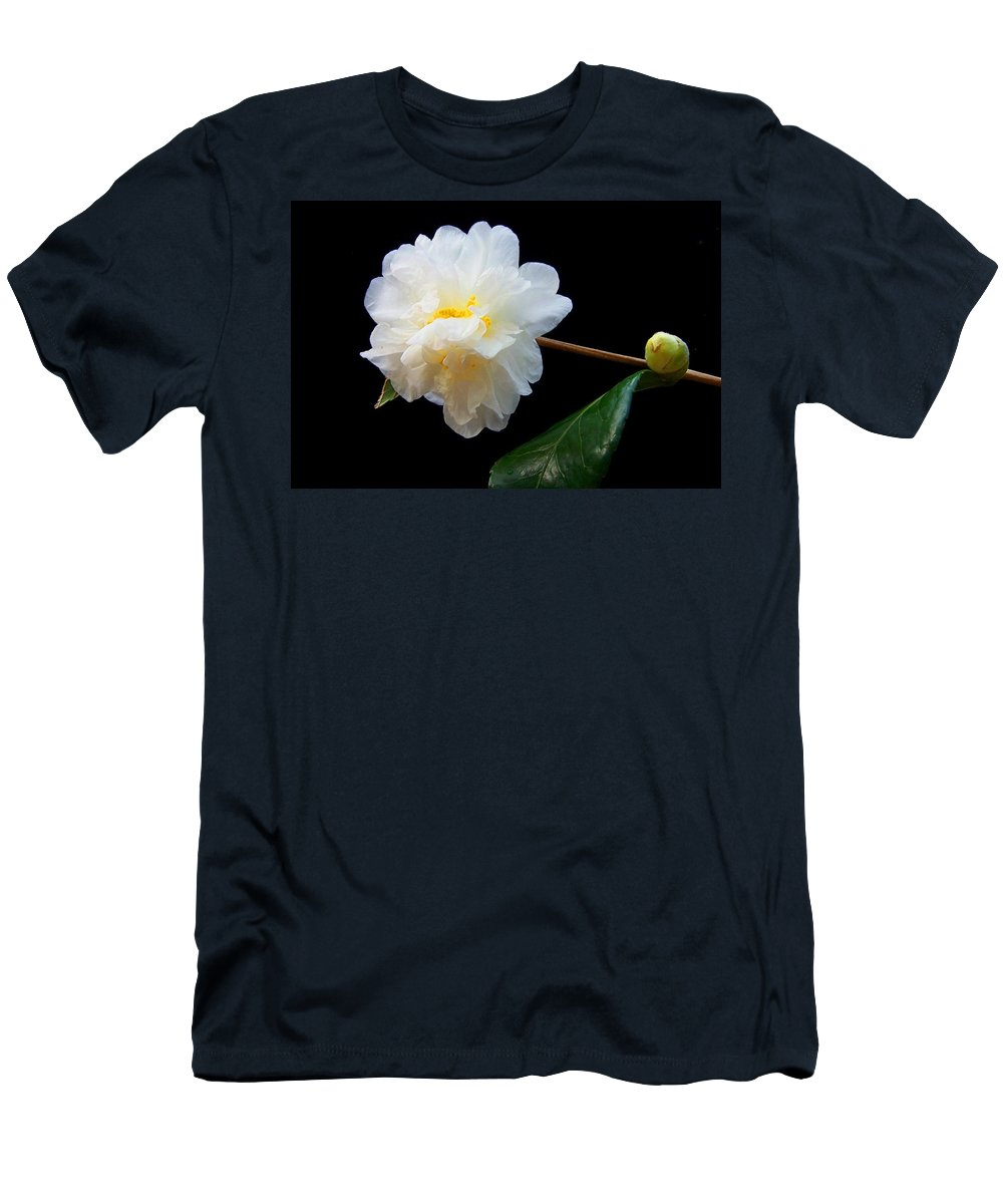 Camelia Men's T-Shirt (Athletic Fit) featuring the photograph Camelia Trio by Laurie Paci