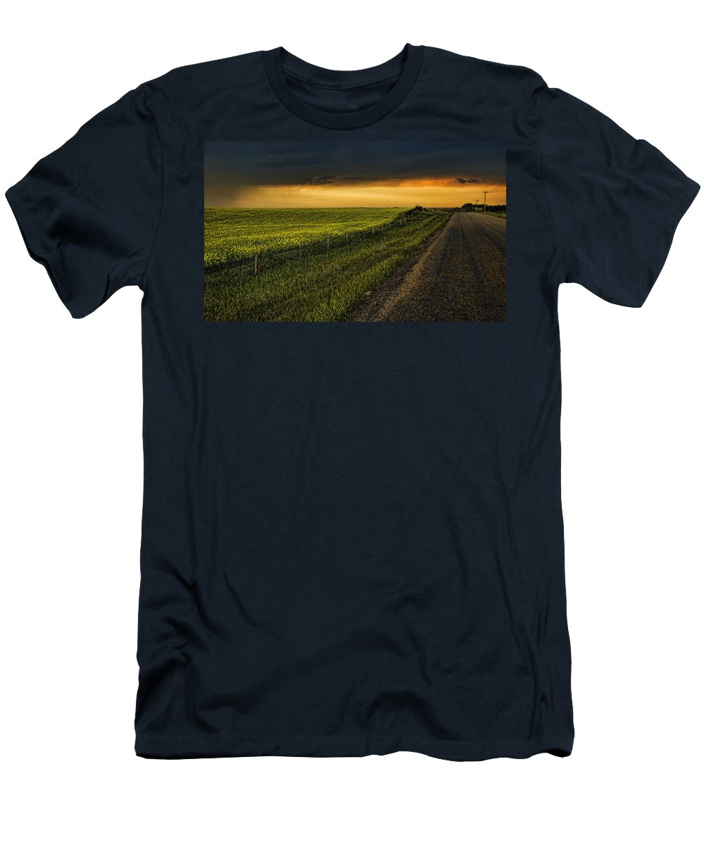 Canola Men's T-Shirt (Athletic Fit) featuring the photograph Canola And The Road Ahead by Wayne Sherriff