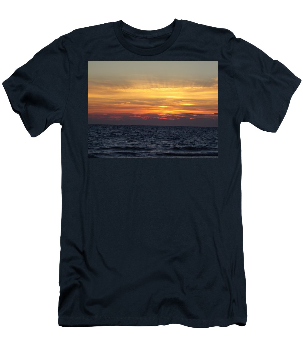 Seascape Men's T-Shirt (Athletic Fit) featuring the photograph Cape Cod Sunset by Charleen Treasures