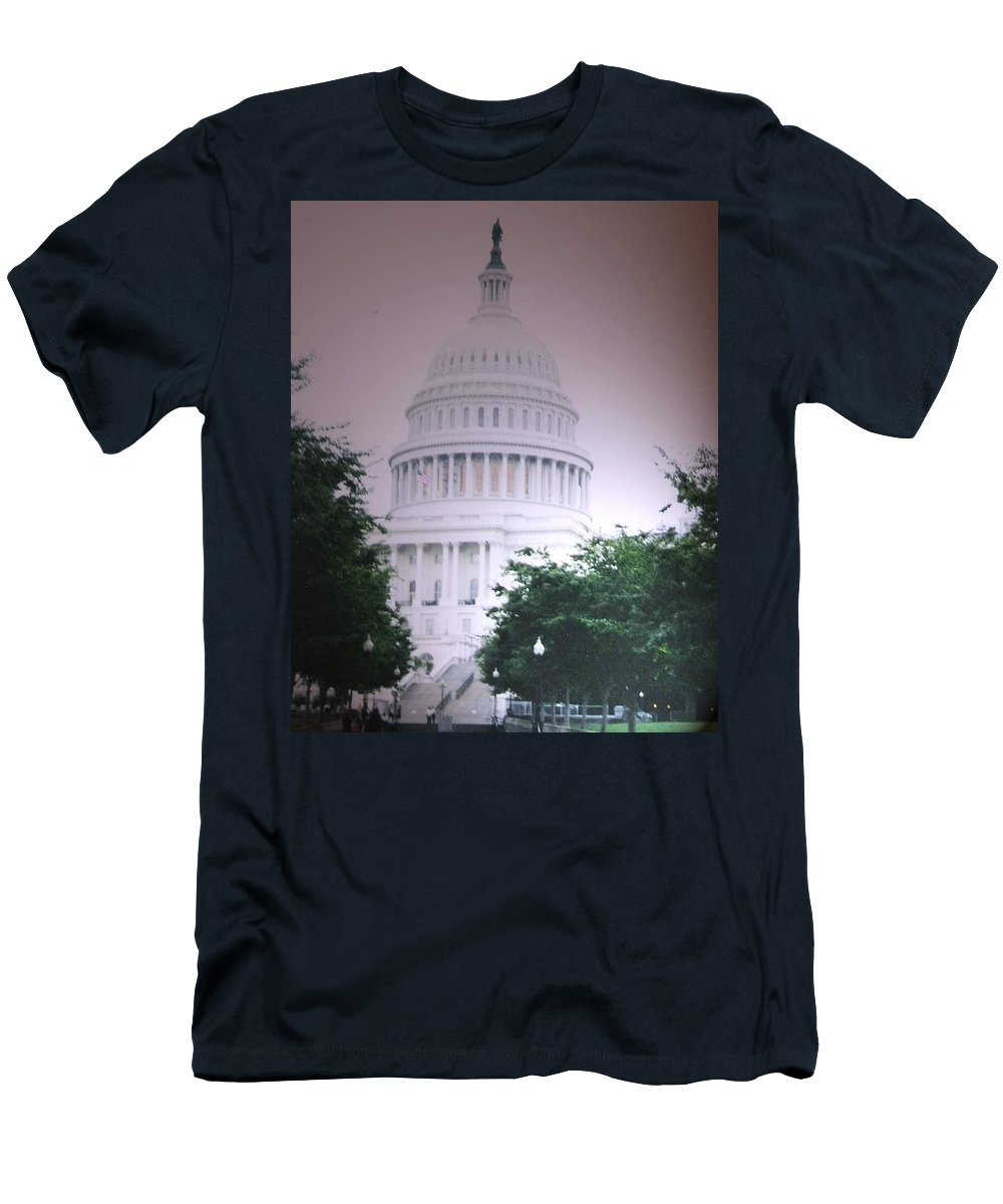 Capitol Men's T-Shirt (Athletic Fit) featuring the photograph Capitol In Pink by Pharris Art