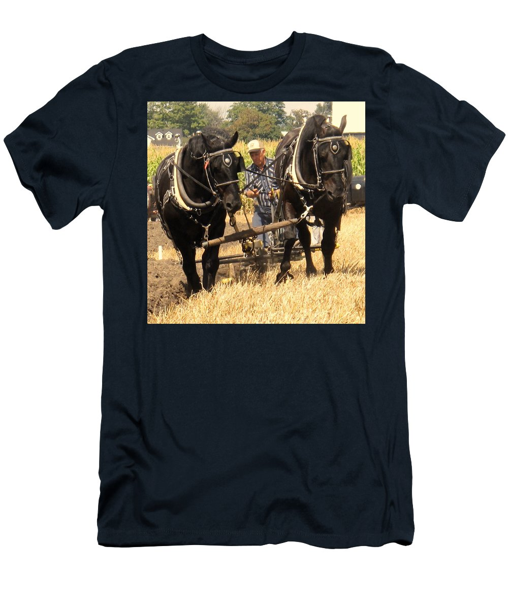 Horses Men's T-Shirt (Athletic Fit) featuring the photograph Careful Careful by Ian MacDonald