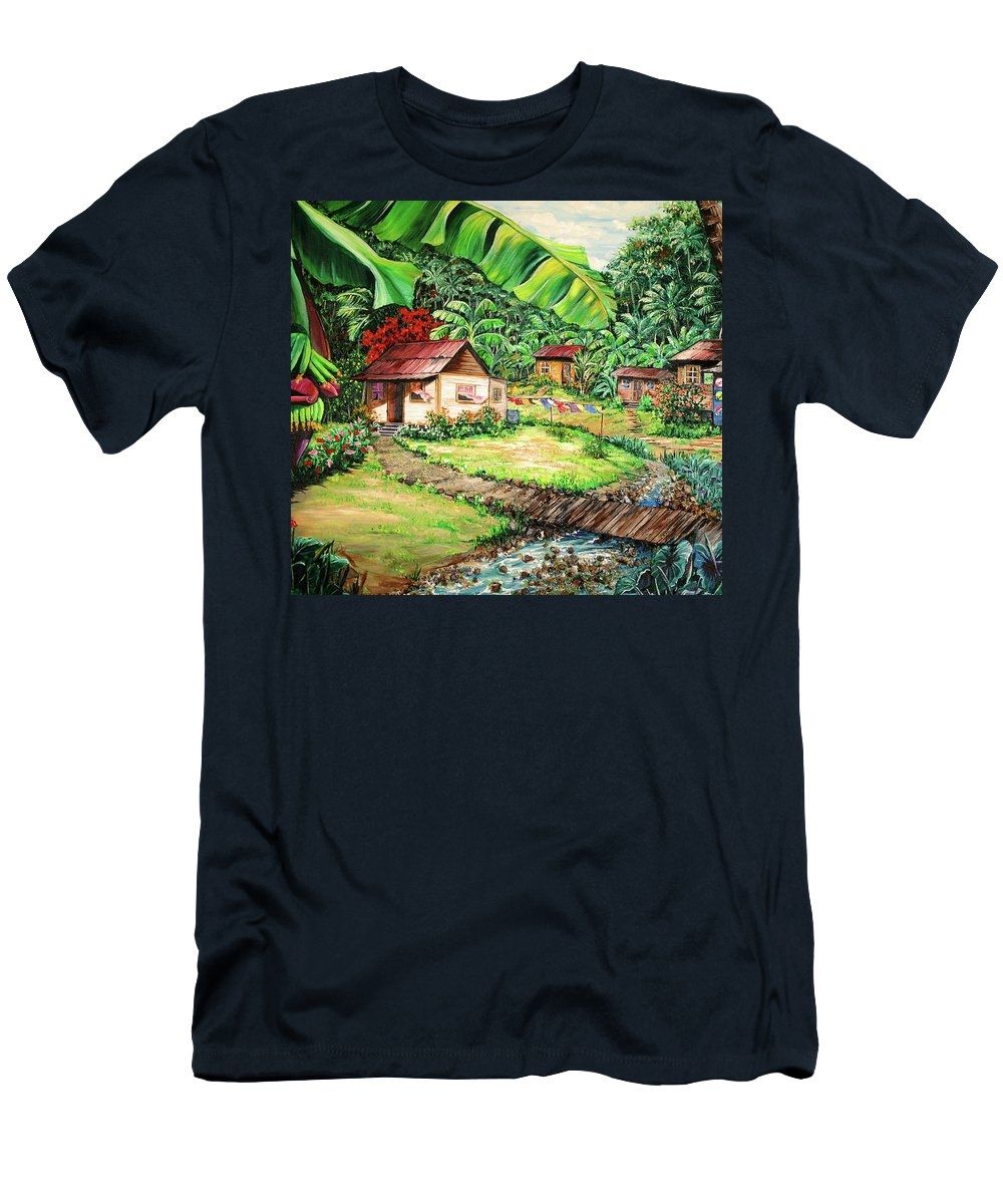 Tropical T-Shirt featuring the painting Caribbean Village Life by Karin Dawn Kelshall- Best