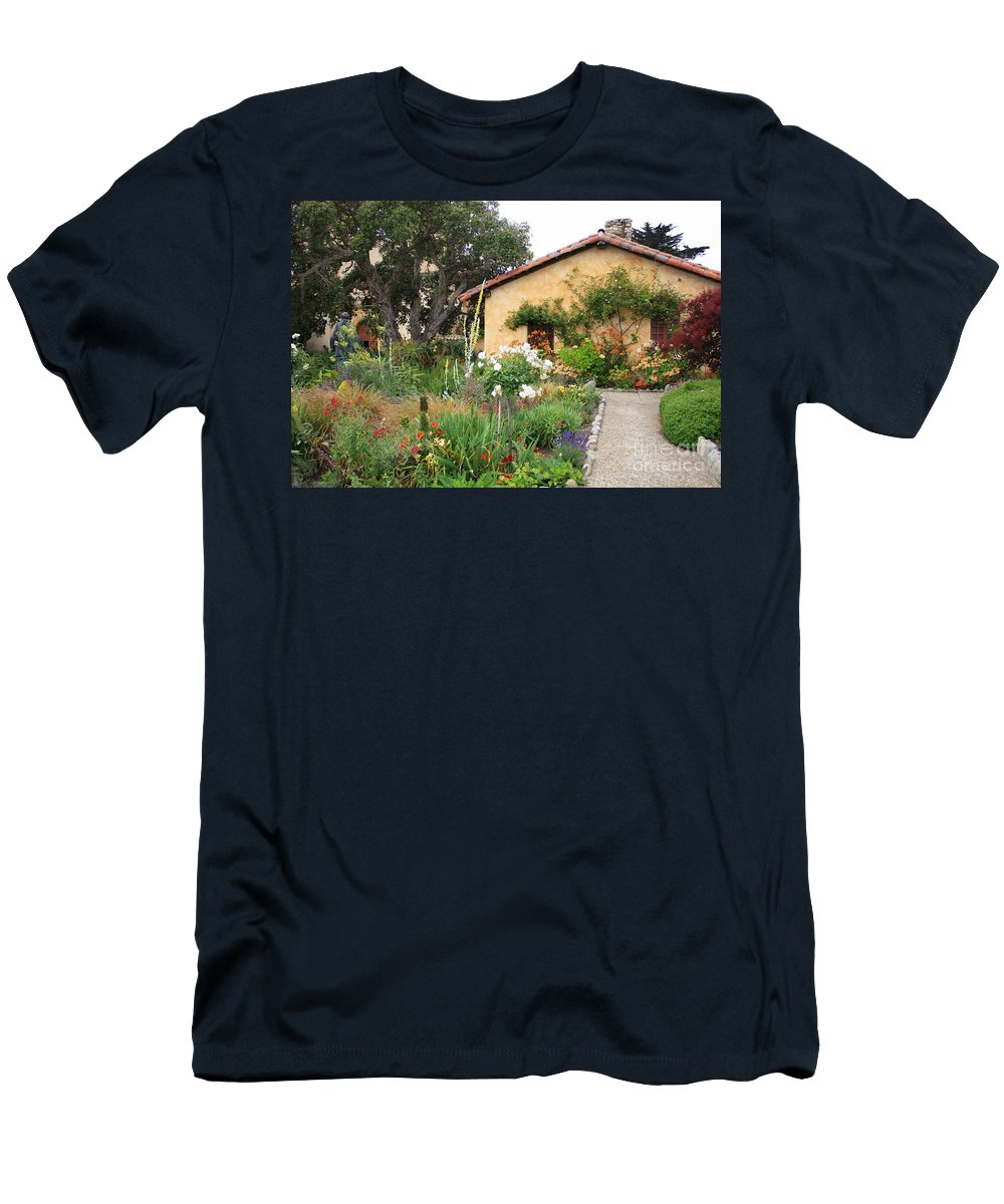 Carmel Men's T-Shirt (Athletic Fit) featuring the photograph Carmel Mission With Path by Carol Groenen