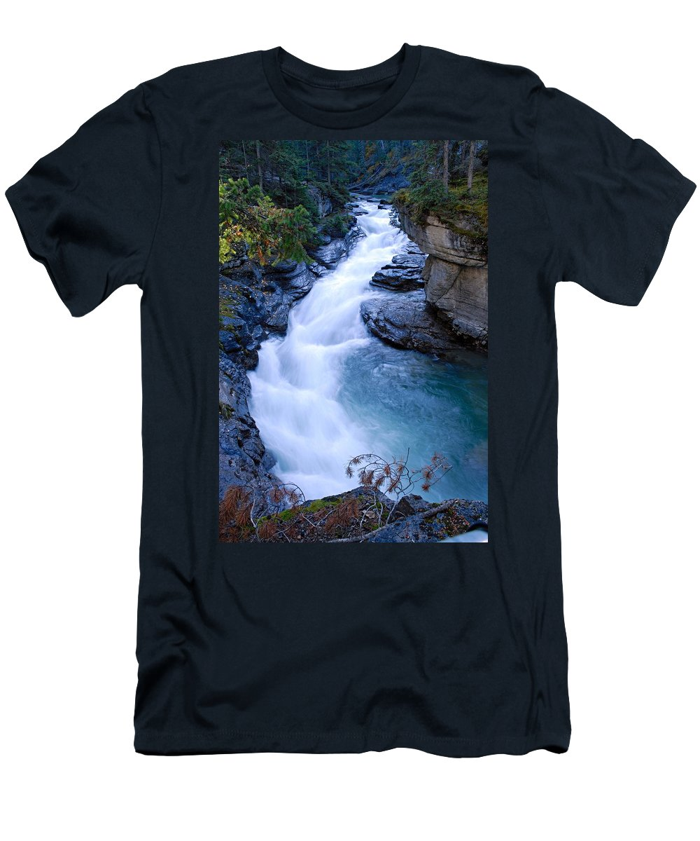 Maligne Canyon Men's T-Shirt (Athletic Fit) featuring the photograph Cascade In The Maligne Canyon by Larry Ricker