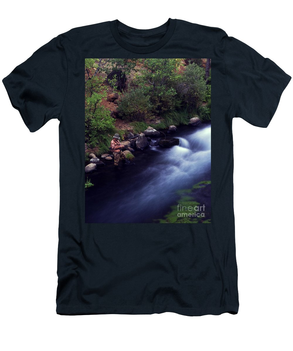 Fishing Men's T-Shirt (Athletic Fit) featuring the photograph Casting Softly by Peter Piatt