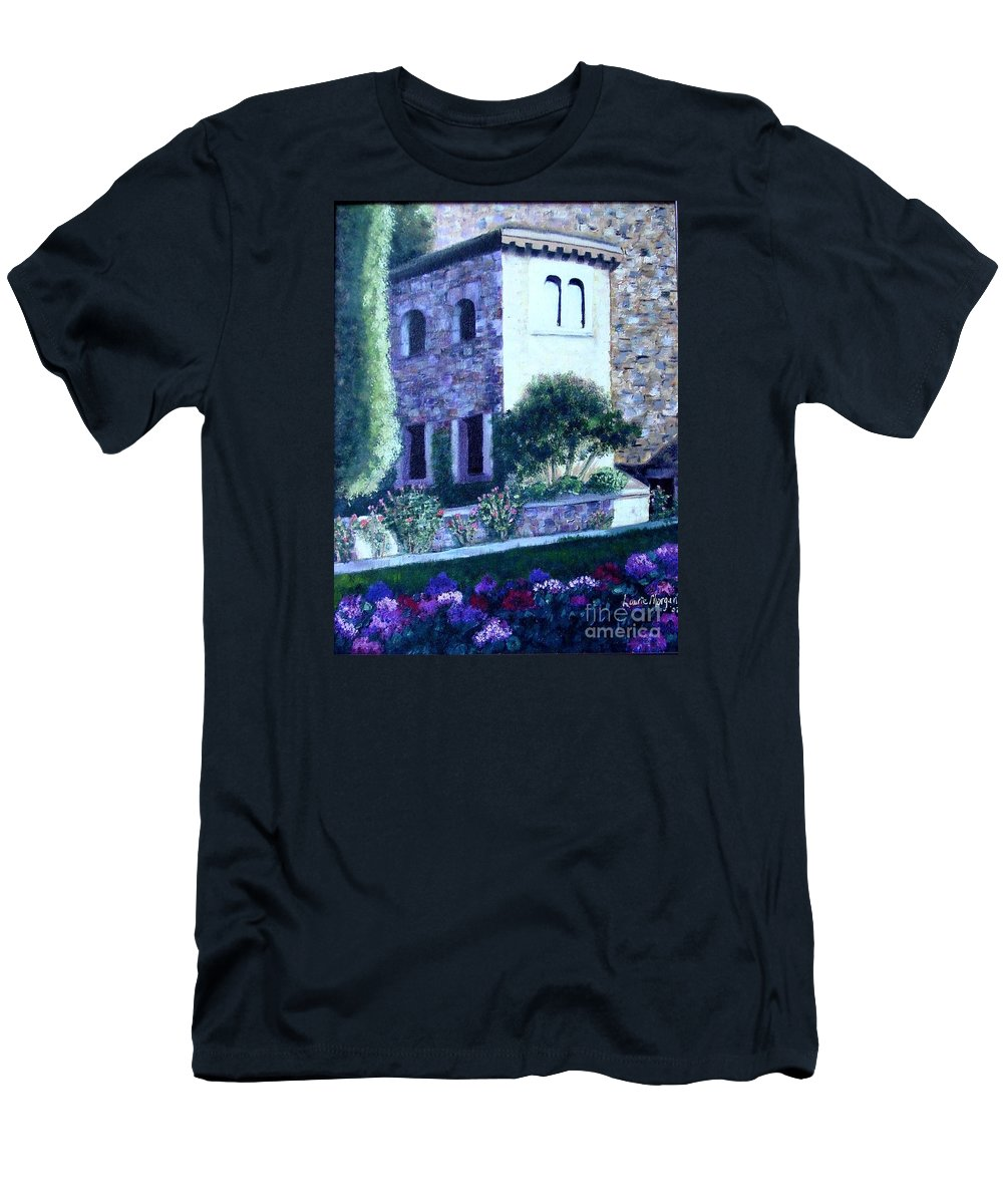 Italy Men's T-Shirt (Athletic Fit) featuring the painting Castle Sestri Levante by Laurie Morgan