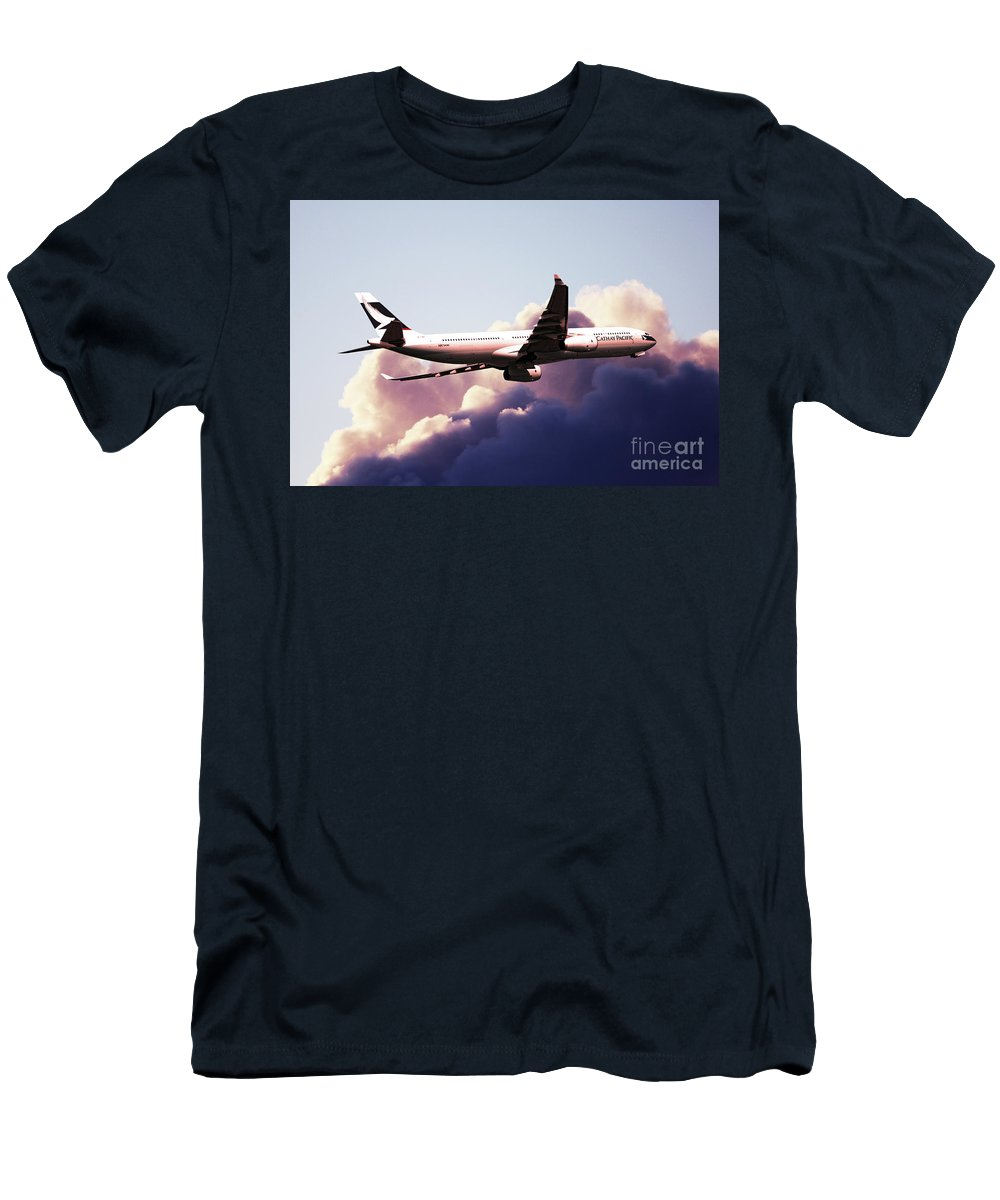 Airbus A330 Men's T-Shirt (Athletic Fit) featuring the digital art Cathay Pacific Airbus A330-343 by J Biggadike