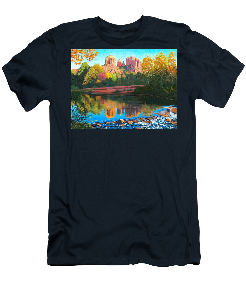 Oak Creek Men's T-Shirt (Athletic Fit) featuring the painting Cathedral Rock - Sedona by Steve Simon