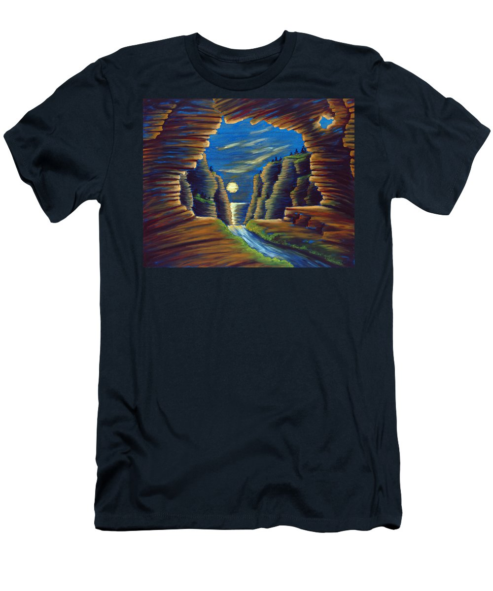 Cave Men's T-Shirt (Athletic Fit) featuring the painting Cave With Cliffs by Jennifer McDuffie