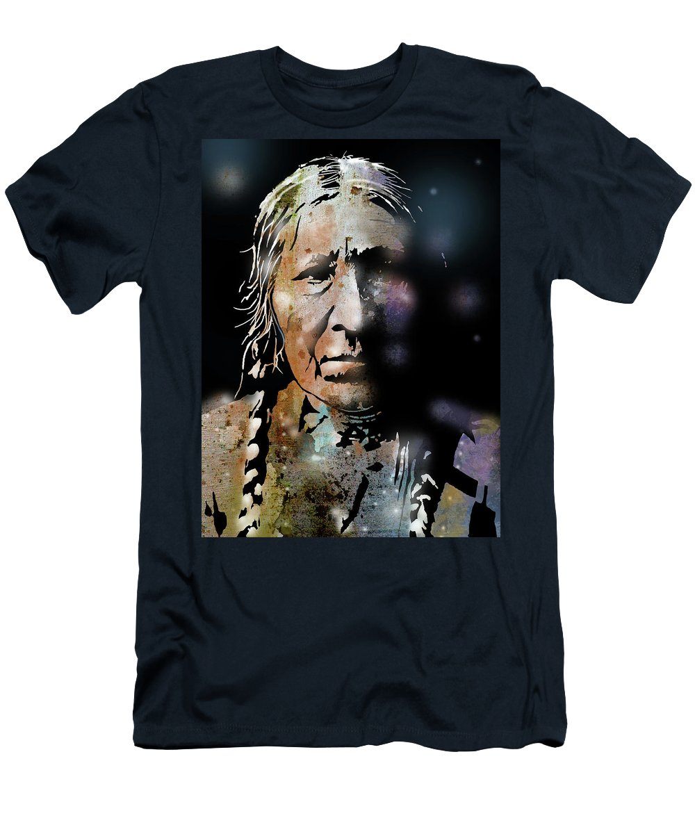 Native Americans Men's T-Shirt (Athletic Fit) featuring the painting Cayuse Woman by Paul Sachtleben