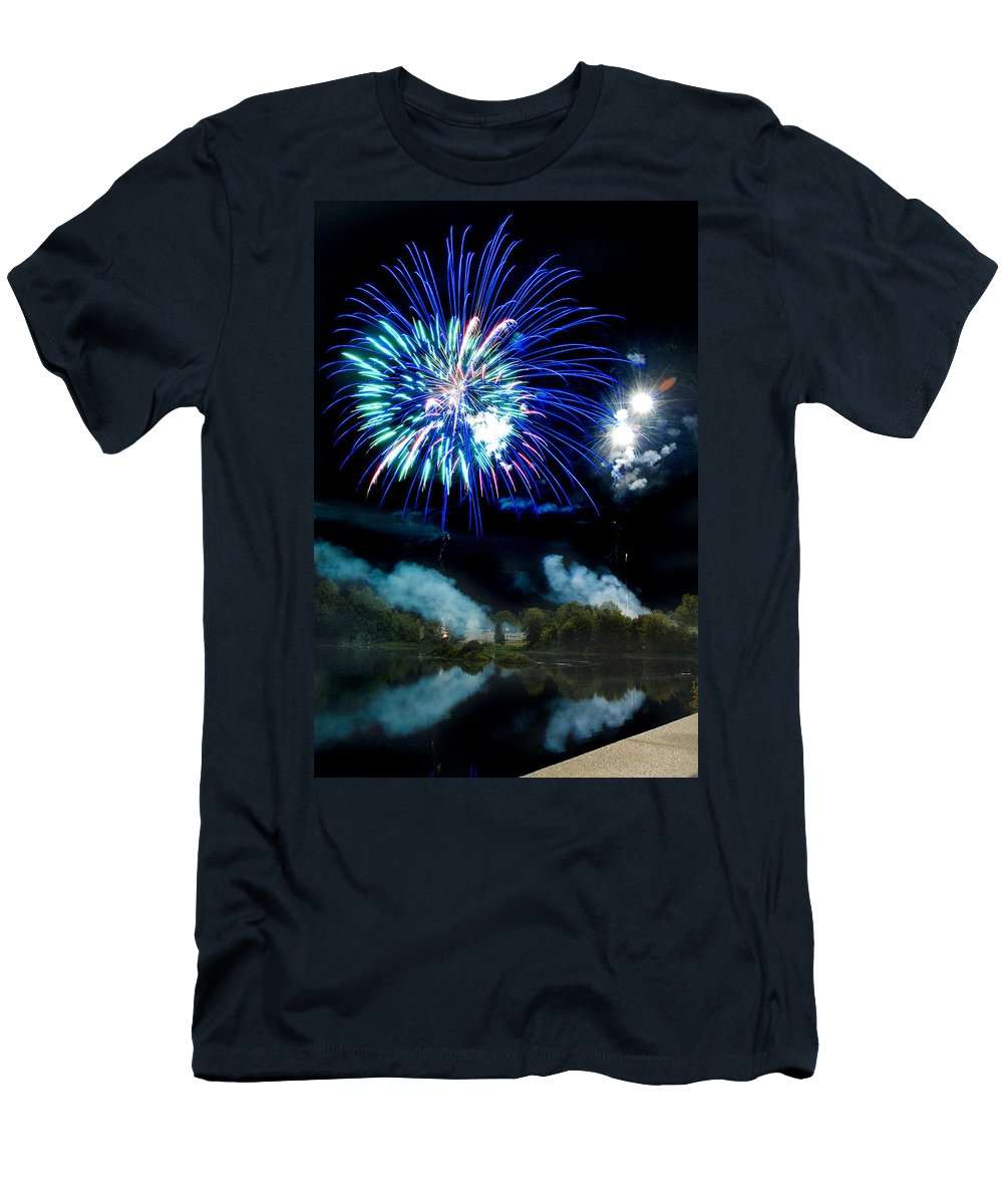Fireworks Men's T-Shirt (Athletic Fit) featuring the photograph Celebration II by Greg Fortier