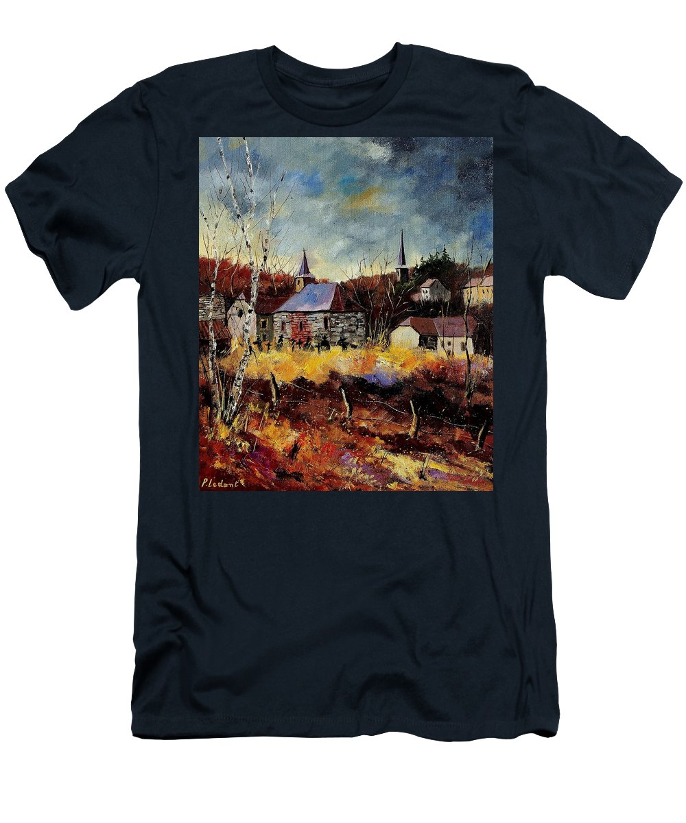 Landscape Men's T-Shirt (Athletic Fit) featuring the painting Chapelle D'havenne by Pol Ledent