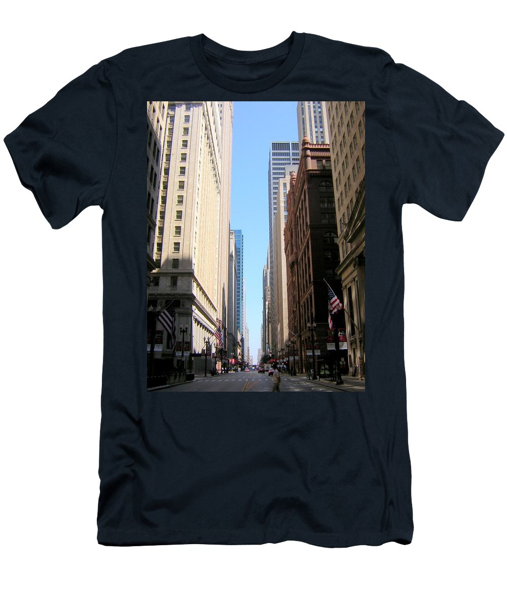 Chicago Men's T-Shirt (Athletic Fit) featuring the photograph Chicago Street With Flags by Anita Burgermeister