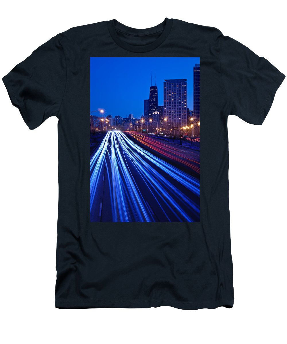 Blue Men's T-Shirt (Athletic Fit) featuring the photograph Chicagos Lake Shore Drive by Steve Gadomski