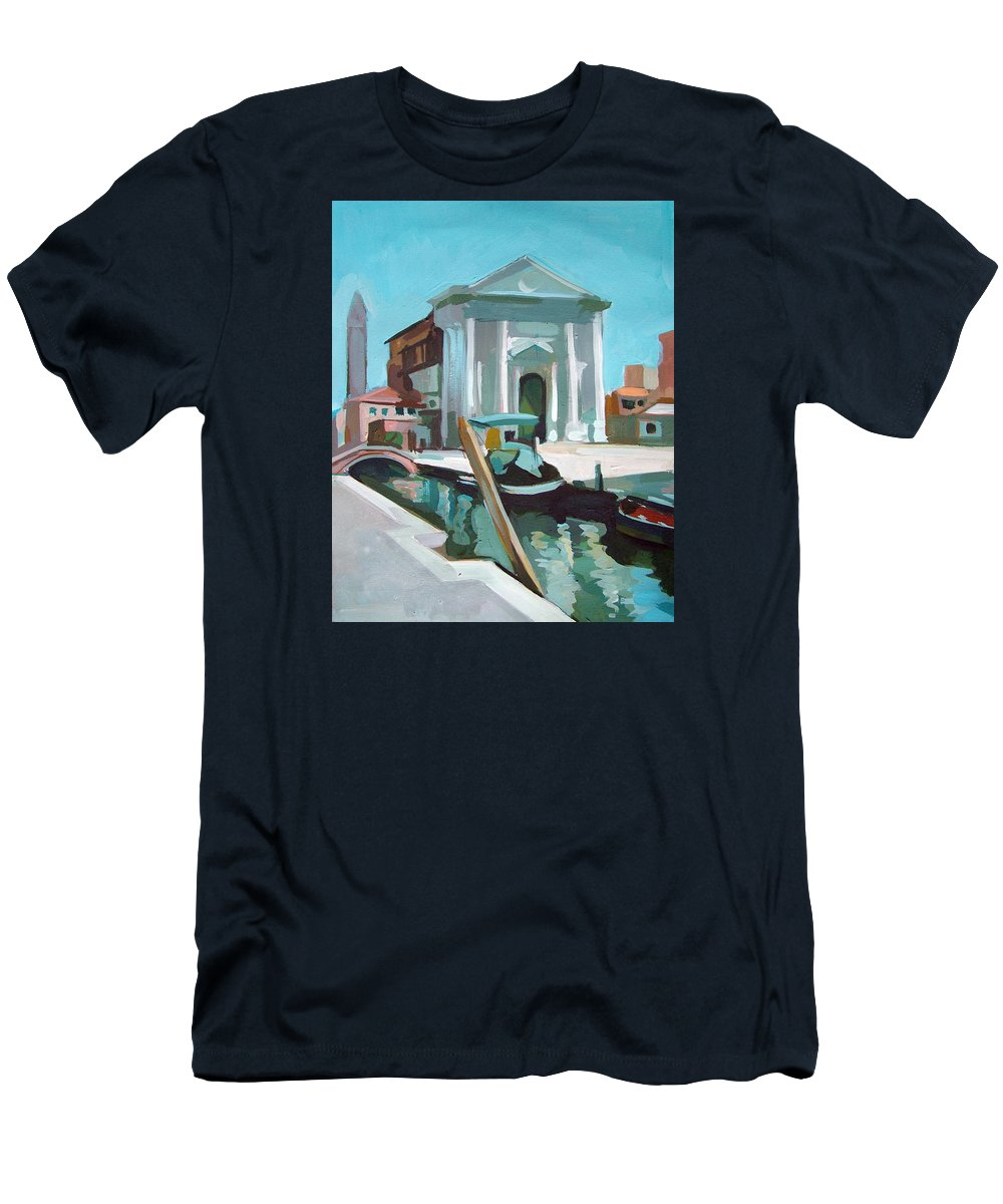 Venice Men's T-Shirt (Athletic Fit) featuring the painting Chiesa San Barnaba by Filip Mihail