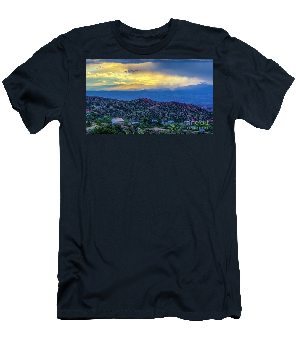 Landscape Men's T-Shirt (Athletic Fit) featuring the photograph Chimayo Rains by Jennifer Sensiba