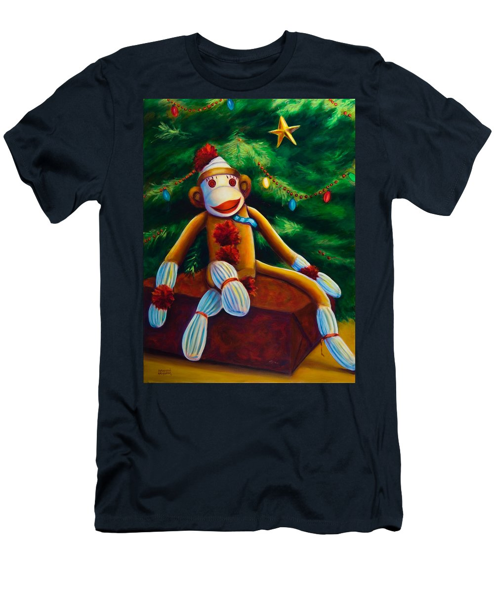 Sock Monkey Men's T-Shirt (Athletic Fit) featuring the painting Christmas Made Of Sockies by Shannon Grissom