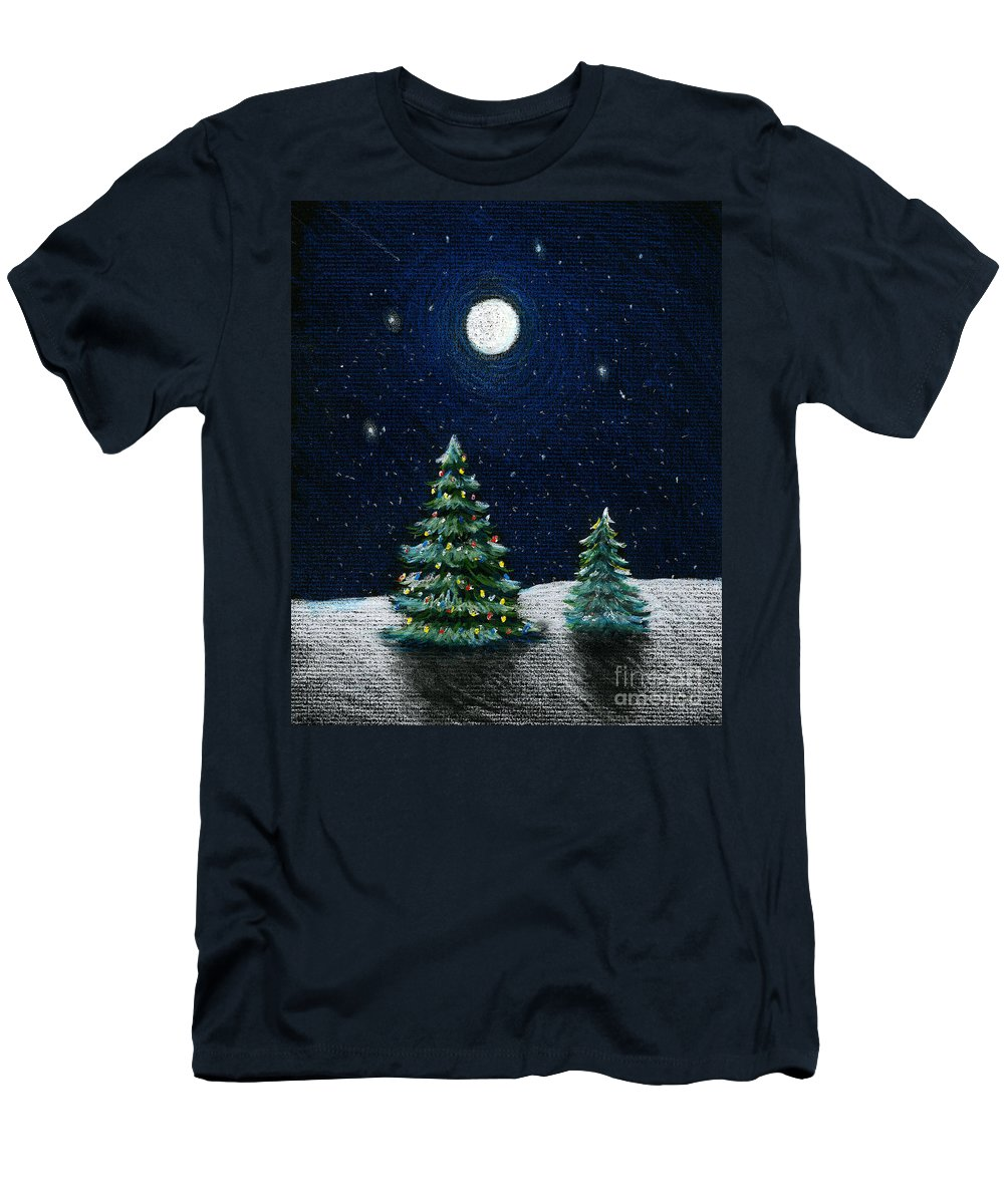 Christmas Trees Men's T-Shirt (Athletic Fit) featuring the drawing Christmas Trees In The Moonlight by Nancy Mueller