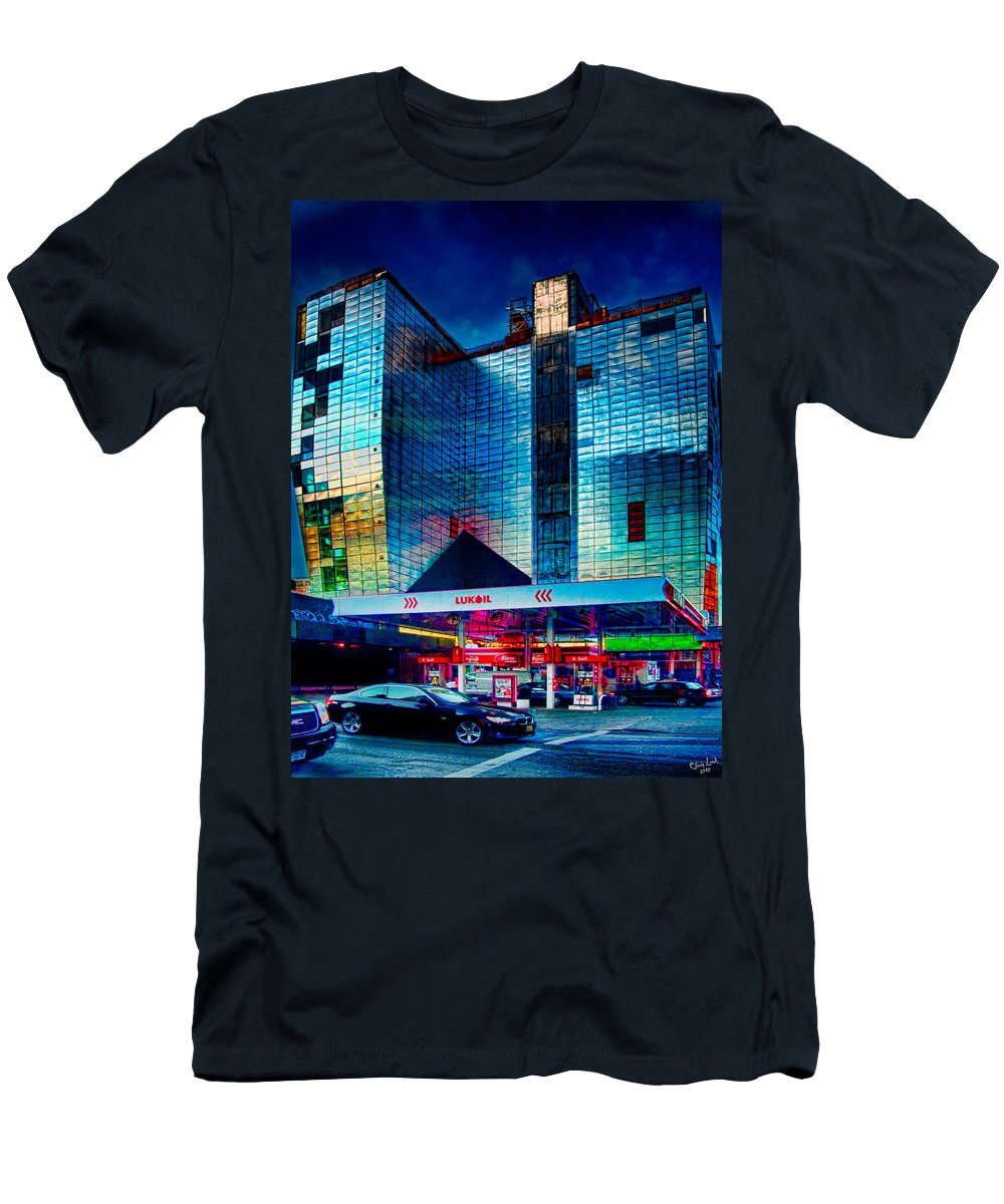 Hdr Men's T-Shirt (Athletic Fit) featuring the photograph City Gas Station by Chris Lord