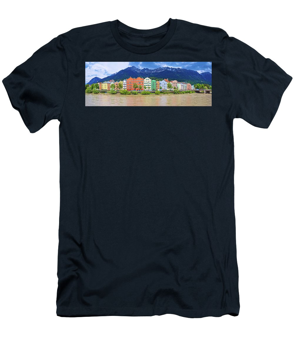 Inn Men's T-Shirt (Athletic Fit) featuring the photograph City Of Innsbruck Colorful Inn River Waterfront Panorama by Brch Photography