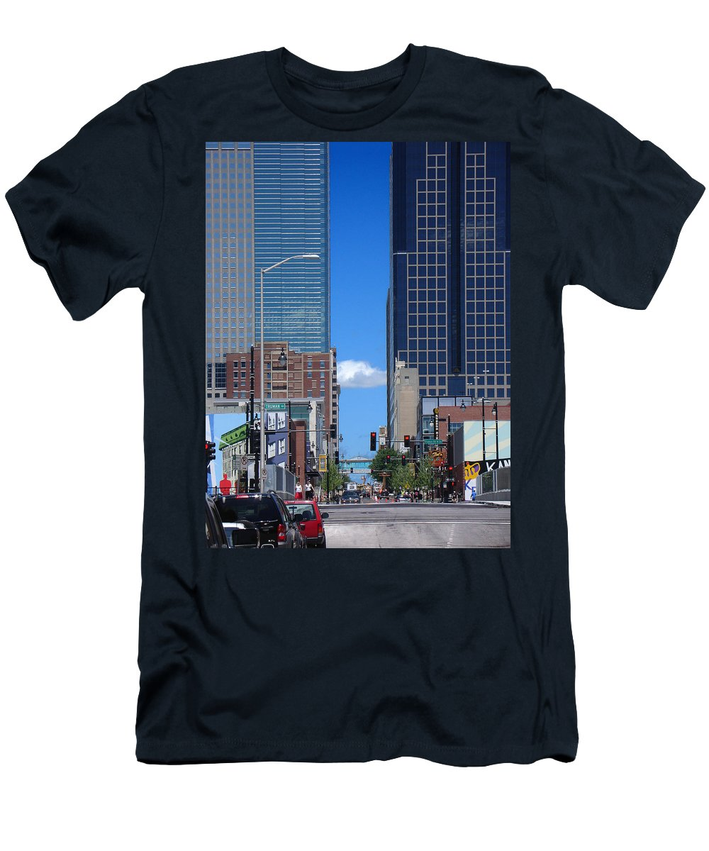Kansas City Men's T-Shirt (Athletic Fit) featuring the photograph City Street Canyon by Steve Karol