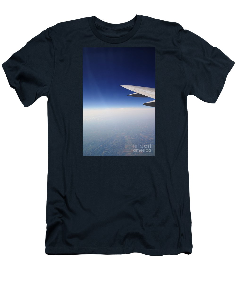 Airplane Men's T-Shirt (Athletic Fit) featuring the photograph Climb Higher by Linda Shafer