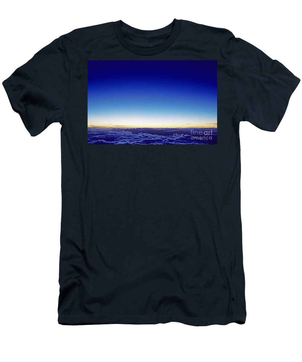 Above Men's T-Shirt (Athletic Fit) featuring the photograph Clouds At Sunset by Carl Shaneff - Printscapes