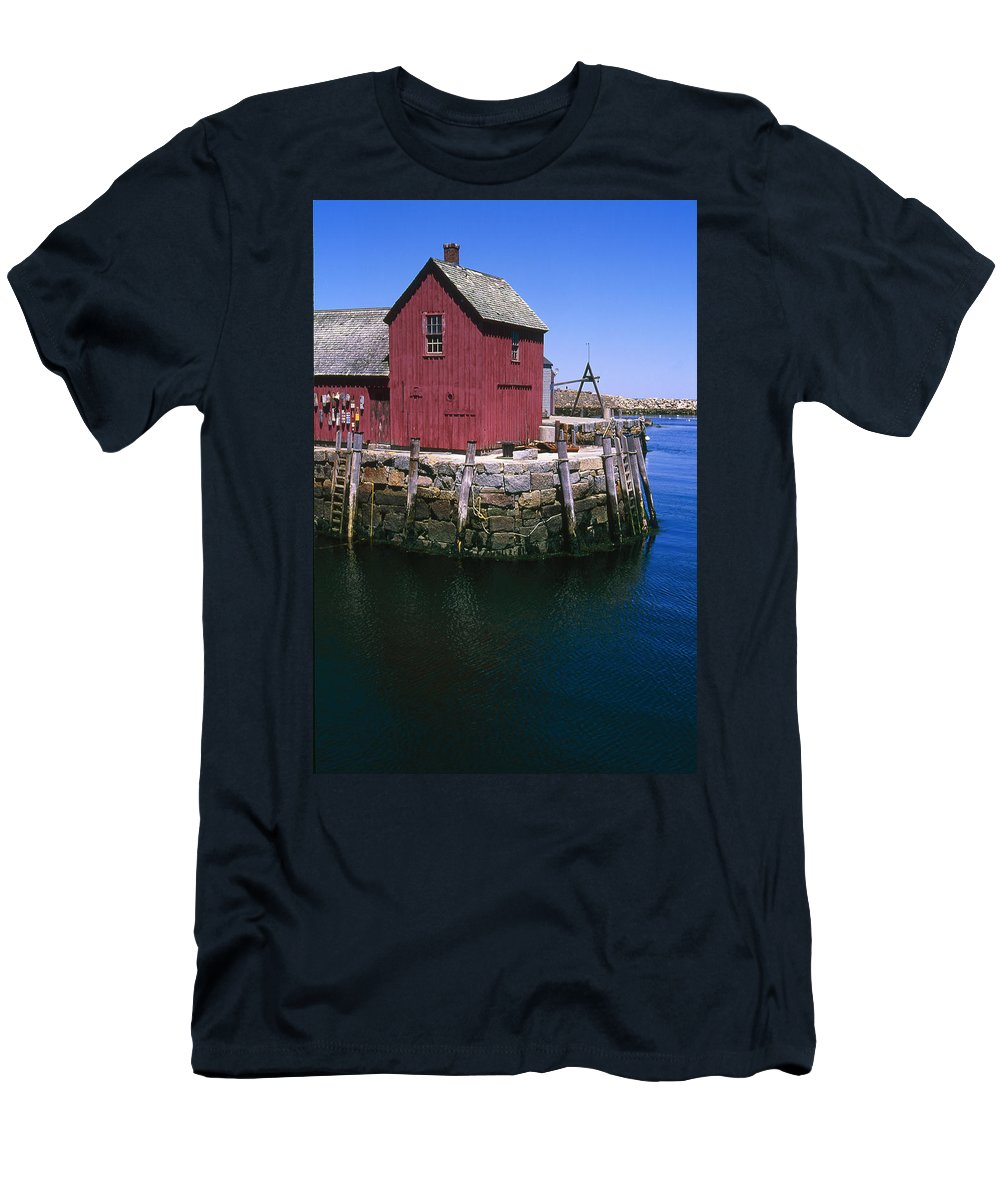Landscape New England Rockport Motif Number 1 Men's T-Shirt (Athletic Fit) featuring the photograph Cnrf0506 by Henry Butz