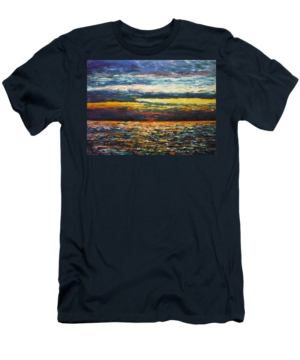 Landscape Men's T-Shirt (Athletic Fit) featuring the painting Cold Sunset by Ericka Herazo