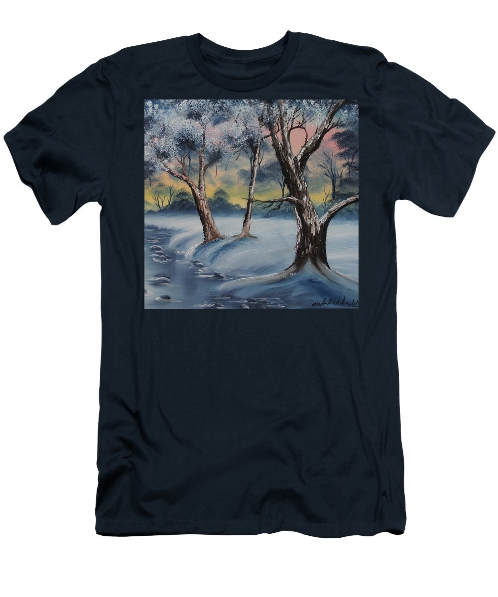 Winter Men's T-Shirt (Athletic Fit) featuring the painting Cold Winter by Nadine Westerveld