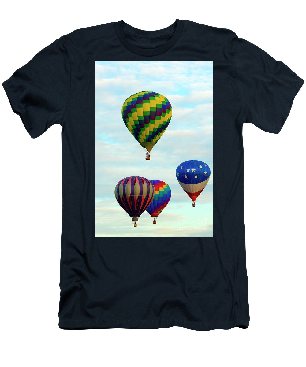 Balloons Men's T-Shirt (Athletic Fit) featuring the photograph Colorful Four by Mike Dawson