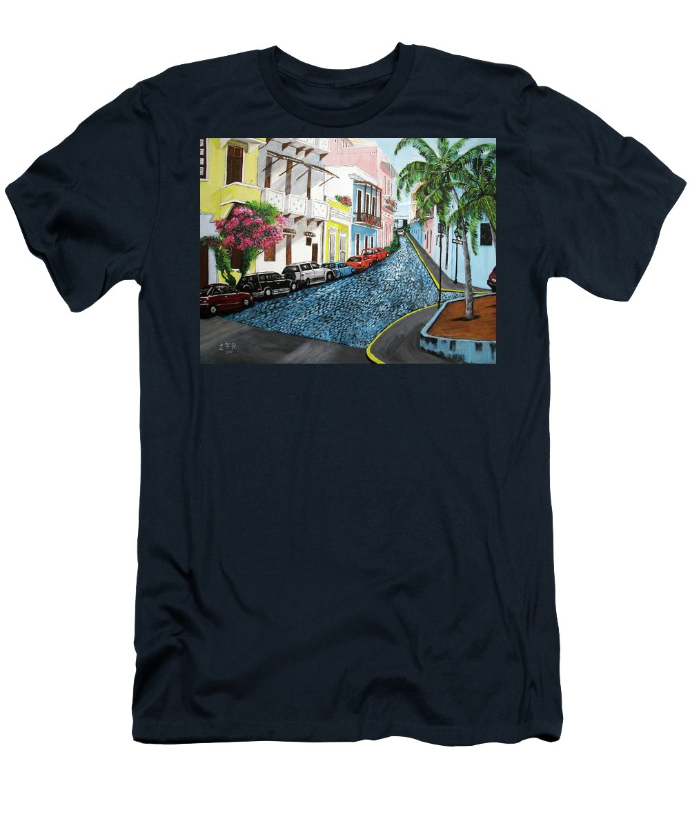 Old San Juan T-Shirt featuring the painting Colorful Old San Juan by Luis F Rodriguez