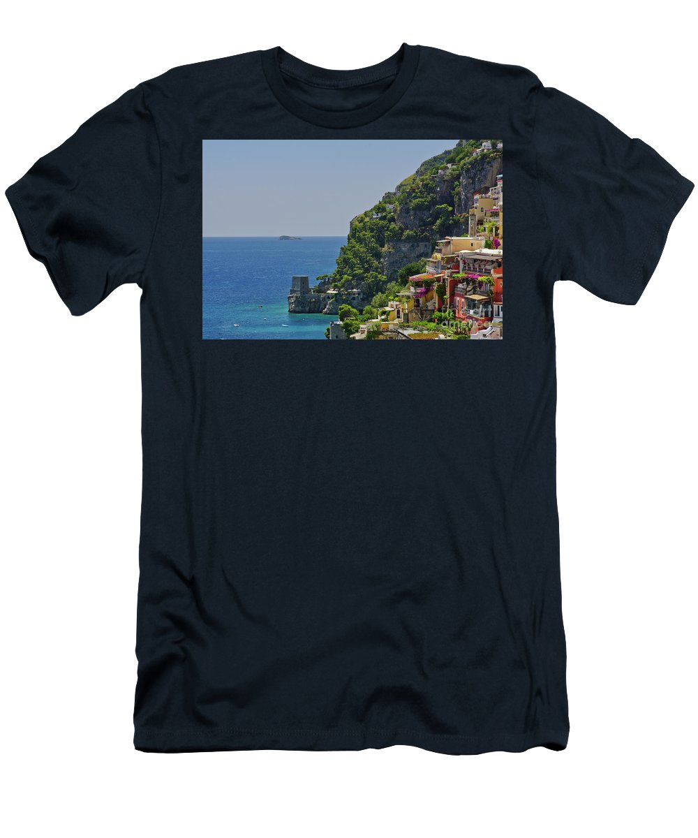 Positano Men's T-Shirt (Athletic Fit) featuring the photograph Colorful Positano by Brian Kamprath