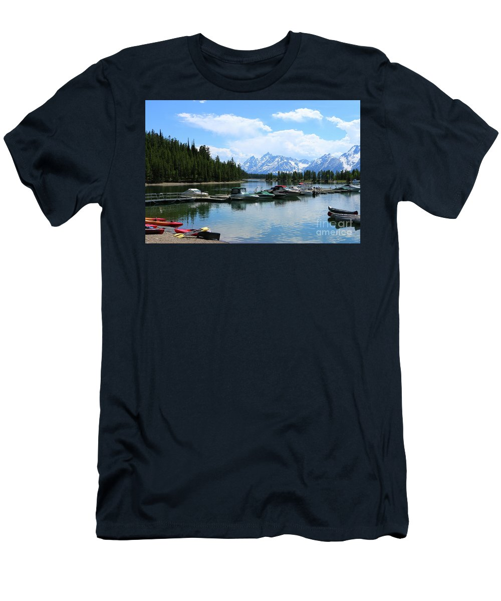 Sailing Boat Men's T-Shirt (Athletic Fit) featuring the photograph Colter Bay On Jackson Lake by Christiane Schulze Art And Photography