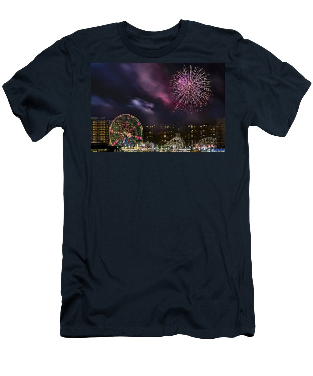 Brooklyn Men's T-Shirt (Athletic Fit) featuring the photograph Coney Island Fireworks by Susan Candelario